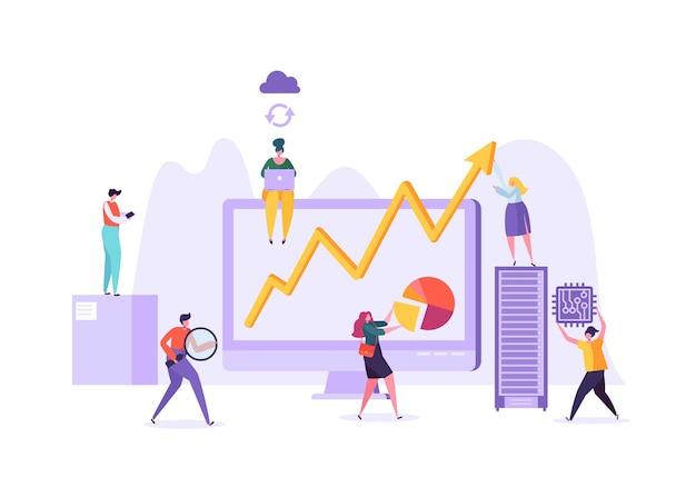 Koncepcja analizy danych biznesowych. strategia marketingowa, analityka z postaciami ludzkimi analiza wykresów danych statystycznych na komputerze.