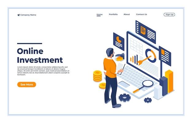Koncepcja analizy danych inwestycyjnych online izometryczna ilustracja wektorowa w stylu płaskim