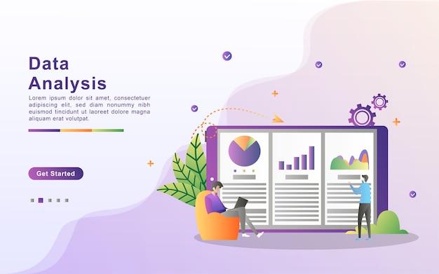 Koncepcja analizy danych. ludzie analizują ruchy wykresów i rozwój biznesu.