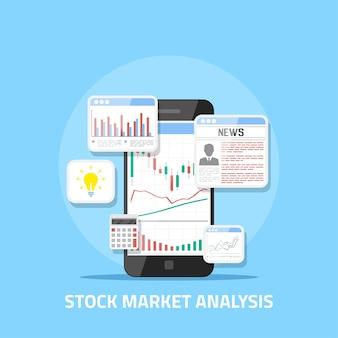 Koncepcja analizy rynku akcji, handel forex online, inwestycje.