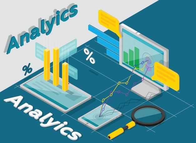 Koncepcja analytics, styl izometryczny