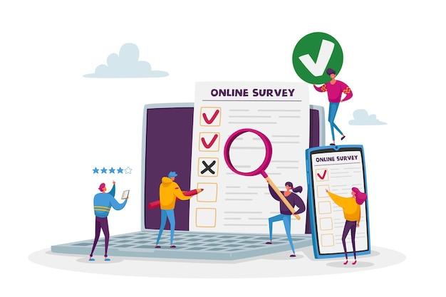 Koncepcja ankiety online. drobne postacie męskie i żeńskie wypełniające cyfrowy formularz w ogromnej aplikacji na laptopa i smartfon