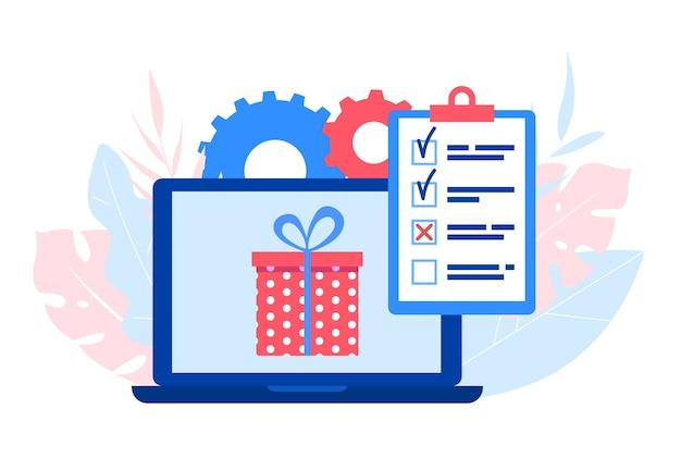Koncepcja ankiety online. laptop z pudełkiem prezentowym i kwestionariuszem