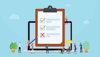 Koncepcja ankiety online z ankietami osób i list kontrolnych