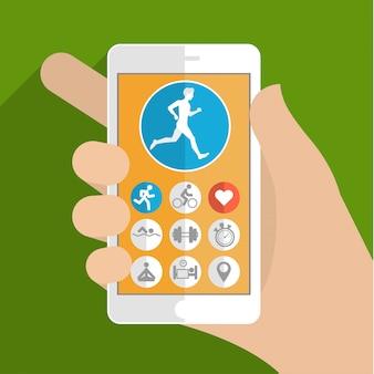 Koncepcja aplikacji fitness na ekranie dotykowym