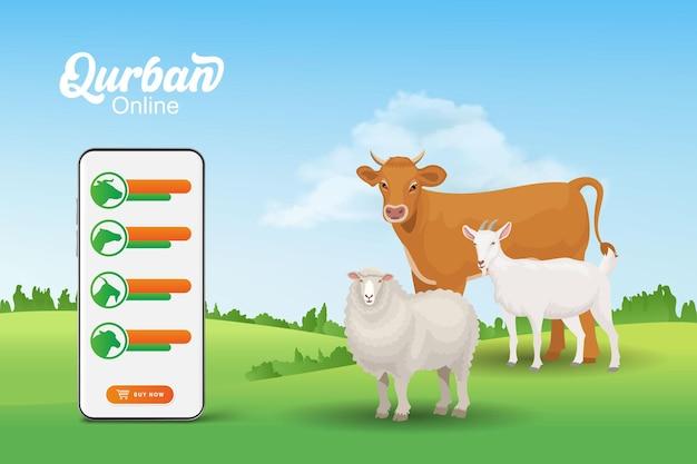 Koncepcja aplikacji mobilnej online qurban. ilustracja smartfona ze zwierzęciem ofiarnym dla eid al adha