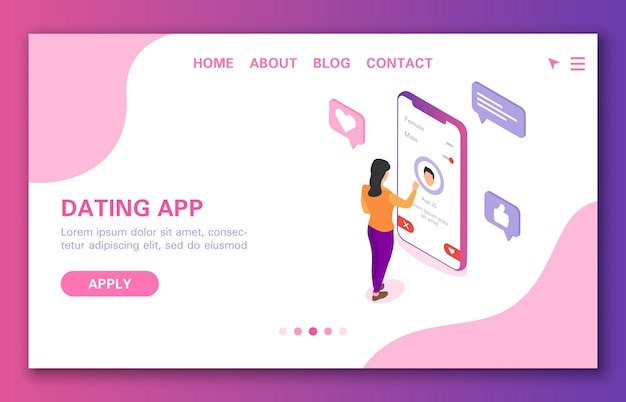Koncepcja aplikacji randkowej dziewczyna szuka faceta do komunikacji izometrycznej