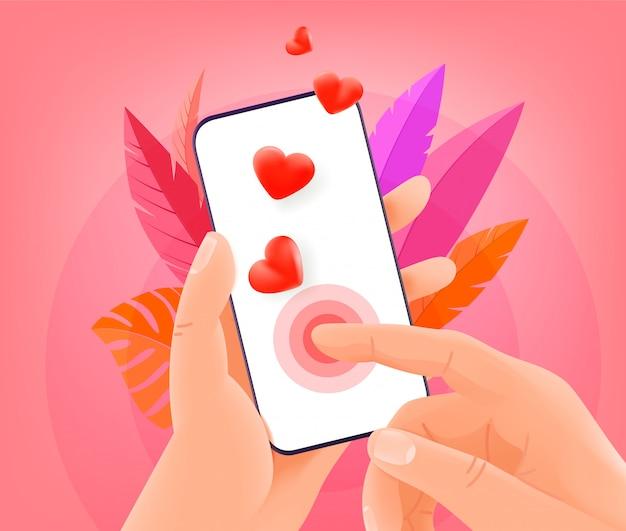 Koncepcja aplikacji randkowej online. mężczyzna trzyma nowożytnego smartphone