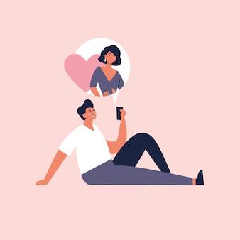 Koncepcja aplikacji randkowej online, płaska konstrukcja. młody mężczyzna trzyma urządzenie mobilne i rozmawia ze swoją dziewczyną.