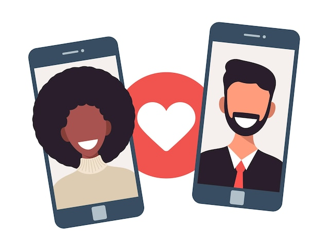 Koncepcja aplikacji randkowej online z mężczyzną i kobietą