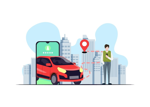 Koncepcja aplikacji taxi z ilustracjami