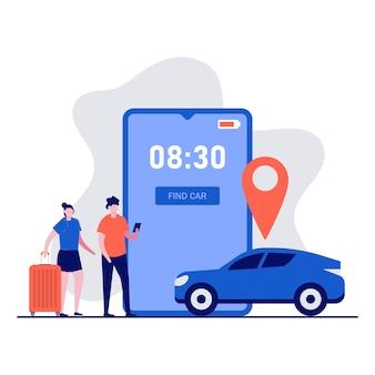 Koncepcja aplikacji usługi udostępniania samochodów z postaciami. osoby zamawiające taksówkę online, wynajmujące i udostępniające lokalizację za pomocą aplikacji mobilnej.