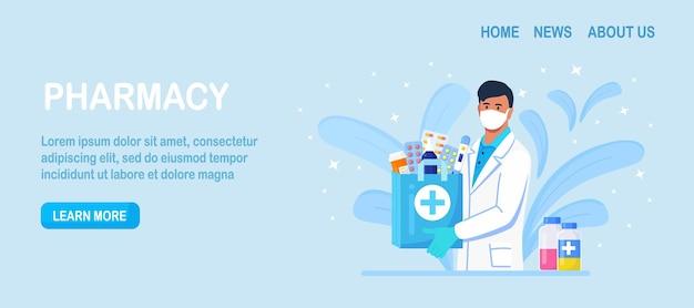 Koncepcja apteki. farmaceuta stojący i trzymający torbę na zakupy z lekami, butelką tabletek, lekami na receptę, antybiotykami do leczenia chorób. leczenie medyczne