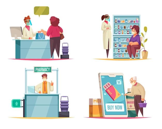 Koncepcja apteki z symbolami medycyny i tabletek płaskich na białym tle