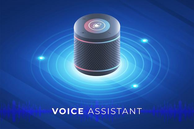 Koncepcja asystenta głosowego internet rzeczy. kontroluj wszystko za pomocą funkcji mów do urządzenia. nowoczesna grafika. ilustrują izometryczny.