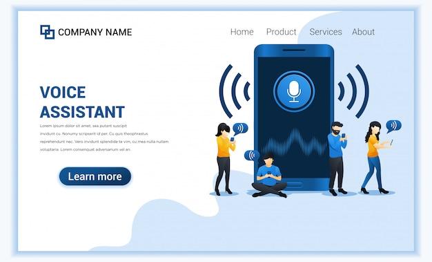 Koncepcja asystenta głosowego z ludźmi korzystającymi z technologii inteligentnego asystenta cyfrowego na telefon komórkowy.