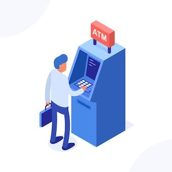 Koncepcja atm. człowiek stojący w pobliżu bankomatu.