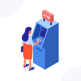 Koncepcja atm. kobieta stojąca w pobliżu bankomatu.