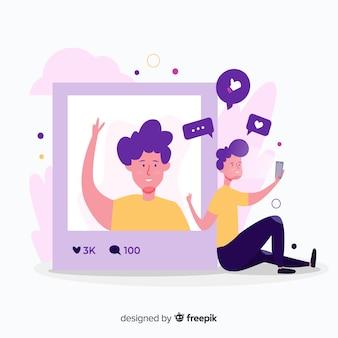 Koncepcja autoportretów z ikonami i aplikacją