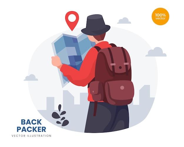 Koncepcja backpacker ilustracja pomysł, mężczyzna lub facet z mapą zrobić wakacje na przygodę.