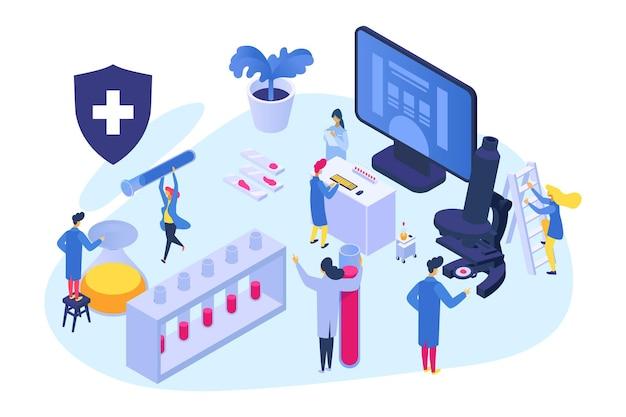 Koncepcja badań medycznych izometryczny, ilustracji wektorowych. test analizy leków w projekcie laboratoryjnym, postać lekarza korzysta ze sprzętu naukowego. mały mężczyzna kobieta w pobliżu komputera, mikroskop.