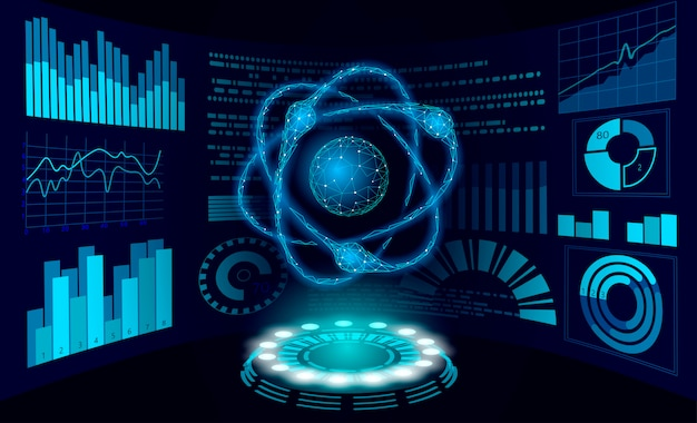 Koncepcja badań naukowych rzeczywistości wirtualnej. wyświetlacz hud pracuje nad rzeczywistością rozszerzoną projektu. cyfrowe urządzenie do analizy danych fizyki cząstek 3d. ilustracja technologii medycyny online