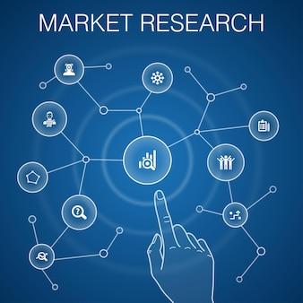 Koncepcja badania rynku, niebieskie tło.strategia, dochodzenie, ankieta, ikony klientów