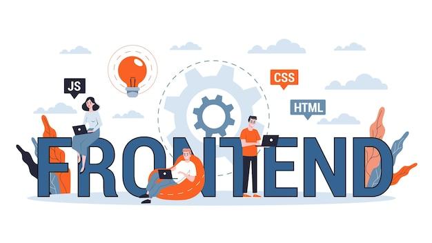 Koncepcja banera internetowego rozwoju frontendu. poprawa interfejsu strony internetowej. ilustracja