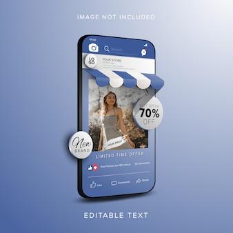 Koncepcja banera zniżki na zakupy online w aplikacji mediów społecznościowych