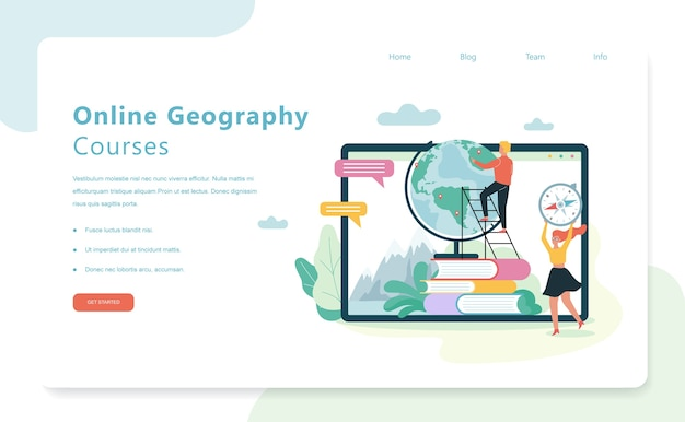 Koncepcja baneru internetowego kursów geografii online. przedmiot