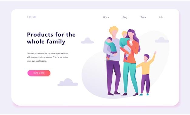 Koncepcja baneru internetowego rodziny. szczęśliwy rodzic