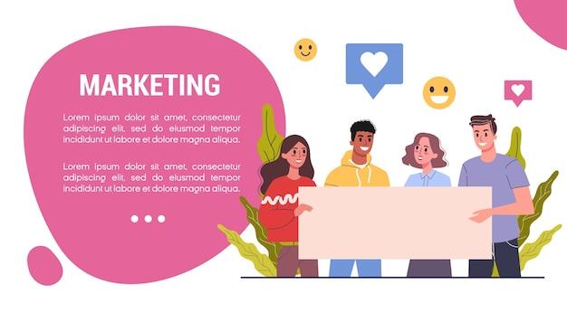 Koncepcja baneru internetowego strategii marketingowej. koncepcja reklamy i marketingu. komunikacja z klientem. pozycjonowanie i komunikacja poprzez media. reklama i baner w mediach społecznościowych. ilustracja