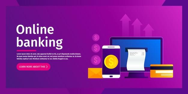 Koncepcja bankowości internetowej. płatności online na komputerze stacjonarnym. ilustracja. płaska konstrukcja.