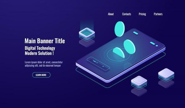 Koncepcja bankowości internetowej, telefon komórkowy ze spadającą monetą, płatność online, zarządzanie finansami ciemne