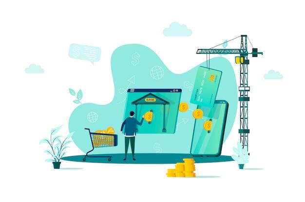 Koncepcja bankowości mobilnej w stylu z postaciami ludzi w sytuacji