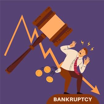 Koncepcja bankructwa z człowiekiem i młotek