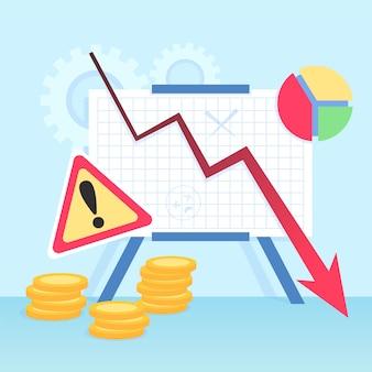 Koncepcja bankructwa z wykresami