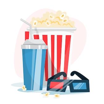 Koncepcja banner sieci web kina. popcorn, taśma filmowa, grzechotka