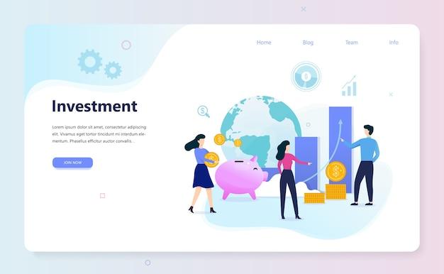 Koncepcja banner www inwestycji. idea wzrostu pieniędzy i wzrostu finansów. zysk biznesowy. ilustracja w stylu