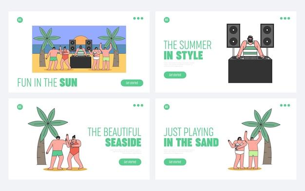 Koncepcja beach party z cool dj odtwarzanie muzyki tanecznej