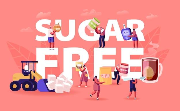 Koncepcja bez cukru. płaskie ilustracja kreskówka