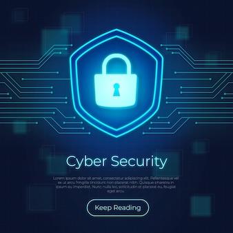 Koncepcja bezpieczeństwa cyber neon z zamkiem