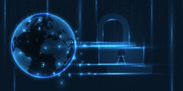 Koncepcja bezpieczeństwa cybernetycznego. streszczenie technologia tło.