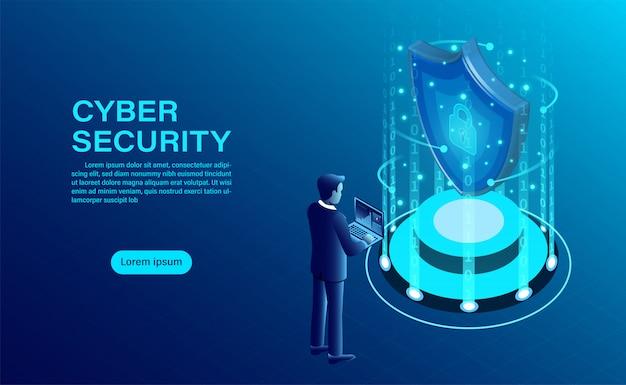 Koncepcja bezpieczeństwa cybernetycznego z biznesmenem chroni dane i poufność oraz koncepcja ochrony prywatności danych z ikoną tarczy i zamka.