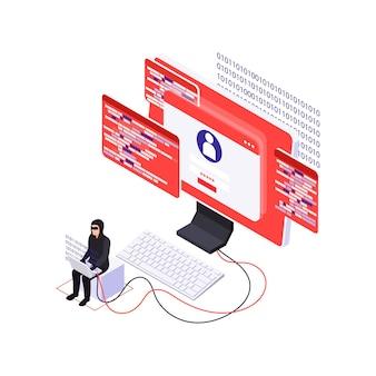 Koncepcja bezpieczeństwa cybernetycznego z izometrycznym charakterem hakera i oprogramowania szpiegującego na komputerze