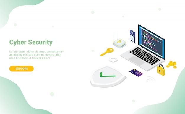 Koncepcja bezpieczeństwa cybernetycznego z ludźmi z zespołu i bezpiecznym programistą kodu z nowoczesnym stylem płaskiego i izometrycznym wzorem dla szablonu strony internetowej lub strony startowej