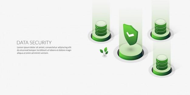 Koncepcja bezpieczeństwa danych 3d, serwer hostingu izometrycznego