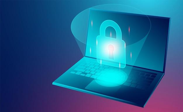 Koncepcja bezpieczeństwa danych chroni dane przed kradzieżami danych i atakami hakerów izometryczną płaską konstrukcją