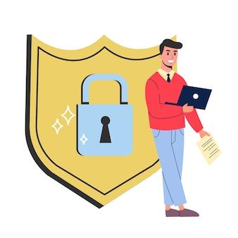 Koncepcja bezpieczeństwa i ochrony danych w internecie. idea cyfrowego bezpieczeństwa informacji. nowoczesna technologia komputerowa, poufne dane. ilustracja w stylu
