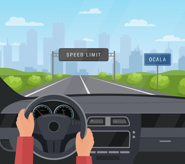 Koncepcja bezpieczeństwa jazdy samochodem. jechać samochodem na asfaltowej drodze z ograniczeniem prędkości, bezpieczny znak na autostradzie